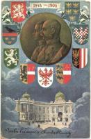 1848-1908 Ferenc József uralkodásának 60. évfordulója, címeres jubileumi lap / Franz Josephs 60th anniversary of reign. Art Nouveau, coat of arms (EK)