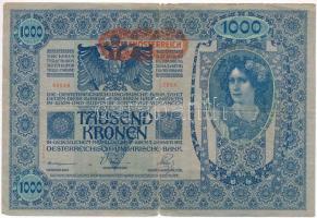 1919. (1902) 1000K vízszintes piros DEUTSCHÖSTERRECIH felülbélyegzéssel, hátlap rajzos T:III,III- Adamo SK35/2