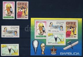 Az év fontos eseményei sor + vágott blokk, Importants events of the year set + imperforated block, Jahresereignisse: Fußball-Weltmeisterschaft 1978, 75. Jahrestag des 1. Motorfluges der Gebrüder Wright, 1. Atlantiküberquerung mit einem Ballon, 25. Jahrestag der Krönung von Königin Elisabeth II.