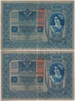 1902. 1000K (3x) mind függőleges, piros Deutschösterreich felülbélyegzéssel, mindkét oldala német T:III