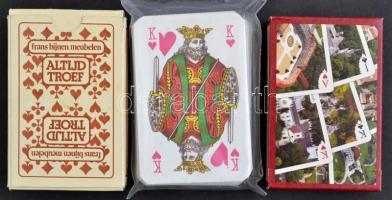 3 csomag 55 lapos francia kártya pakli. Párizsi kép, magyar paloták, városképek