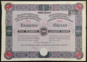 Budapest 1929. Részvénytársaság Villamos és Közlekedési Vállalatok Számára tíz részvénye 100P-ről, szelvényekkel, bélyegzéssel és szárazpecséttel TII