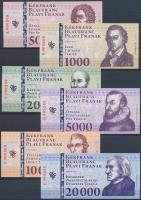 Sopron 2010. 500 Kékfrank + 1000 Kékfrank + 2000 Kékfrank + 5000 Kékfrank + 10.000 Kékfrank + 20.000 Kékfrank mind azonos 000269 sorszámmal, de eltérő sorozatjellel, teljes sor T:I