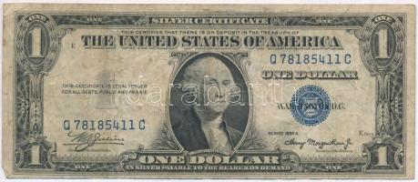 Amerikai Egyesült Államok 1935-1945. (1935A) 1$ Silver Certificate - kisméretű, kék pecsét, William Alexander Julian - Henry Morgenthau Jr. T:III-  USA 1935-1945. (1935A) 1 Dollar Silver Certificate - Small size, blue seal, William Alexander Julian - Henry Morgenthau Jr. C:VG