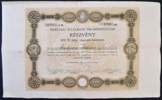 Marcali 1920. Marczali Általános Takarékpénztár névre szóló részvény 400K-ról, szelvényekkel, szárazpecséttel T:III