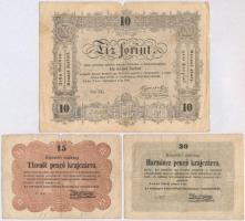 1848. 10Ft Kossuth Bankó + 1849. 15kr + 30kr T:III,III-