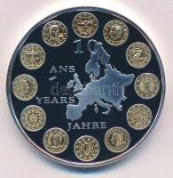 2012. 10 éves az Euro ezüstözött, aranyozott fém emlékérem (40mm) T:PP  2012. Euro 10 years gilt, silver-plated commemorative medallion (40mm) C:PP