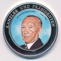 Németország DN Konrad Adenauer 1949-1963 - Kanzler und Präsidenten ezüstözött, részben multicolor emlékérem T:1 Germany ND Konrad Adenauer 1949-1963 - Kanzler und Präsidenten silver plated, partially multicolor commemorative medallion C:UNC