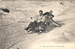 Sport dhiver en Bob Sleigh / winter sport, bob sleigh race with five-men controllable bobsled (EK)
