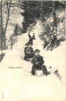 1902 Plaisirs dhiver / winter sport, sledding children (EK)