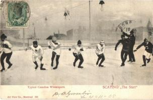 1905 Typical Canadian Wintersports, Scapting The Start, Speed skating. TCV card