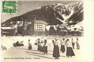 1911 Klosters, Eisrink des Grand Hotel Vereina / ice rink with ice skating people, winter sport