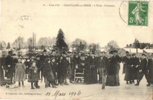 1906 Cote dOr, Chatillon-sur-Seine, lHiver, Patineurs / Winter sport, ice skating people. TCV card (EB)