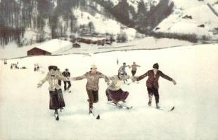 1912 Wintersport in den Alpen / Winter sport, skiing people (Rb)
