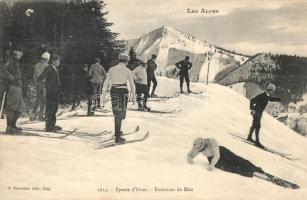 Les Alpes, Sports dhiver, Exercices des Skis / winter sport, ski lesson