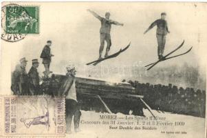 1909 Morez, Les Sports dHiver, Concours des 31 Janvier, 1. 2 et 3 Février 1909. Saut Double des Suedois / winter sport, ski jumping. TCv card
