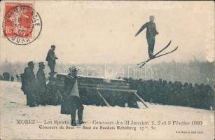 1909 Morez, Les Sports dHiver, Concours des 31 Janvier, 1. 2 et 3 Février 1909. Concours de Saut, Saut du Suédois Rehnberg / winter sport, ski jumping. TCV card