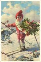 Bonne Anné / New Year greeting art postcard with child skiing