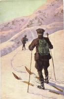 1911 Skiing art postcard, winter sport, artist signed
