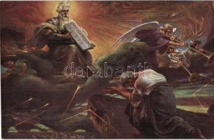 7 db RÉGI judaikai művészlap az Ótestamentumból / 7 pre-1945 Judaica themed art postcards from the Hebrew Bible