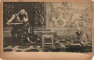 4 db RÉGI Ephraim Moses Lilien (első cionista művész) judaika művészlap / 4 pre-1945 Judaica art postcards, signed by Ephraim Moses Lilien (first Zionist artist)