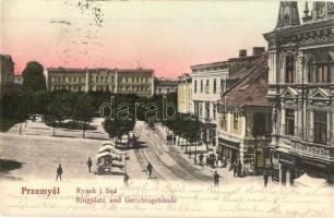 1904 Przemysl, Rynek i Sad / Ringplatz und Gerichtsgebäude / square, market vendors, shops, court (EK)