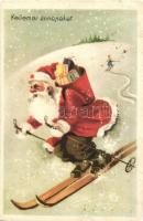 Kellemes ünnepeket! / Christmas greeting card with skiing Saint Nicholas, winter sport (r)