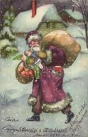Üdvözlet a Mikulástól! / Christmas greeting card with Saint Nicholas. HWB Ser. 4464. (EK)