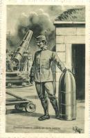 Bombardamento contro un forte nemico / WWI Italian military art postcard s: V. Polli