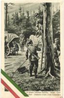 Il nostro valoroso Esercito - Genio - Telegrafisti, Impianto duna Linea Telegrafica / WWI Italian military art postcard, planting of the telegraph line, Italian flag decoration s: V. Polli