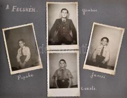 cca 1946 A 308. és a 788. sz. Kőrösi Csoma S. cserkészcsapat fotóalbuma 100 fotóval a cserkészvezetőnek címezve. Érdekes képekkel.
