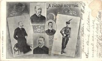 1902 A Zászló Bizottság (Országos Nemzeti Szövetség, az amerikai magyarságnak küldött zászlaja): Rákos Jenő, Balás Árpád, Buday Barna, Zseni József, Bujanovics Sándor. Balog, Lnrovitz & Co. / Hungarian Flag Committee of the flag sent to the American Hungarians. Art Nouveau, Hungarika / Hungarica (felszíni sérülés / surface damage)