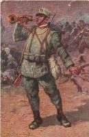 WWI Italian military art postcard, artist signed. Sacchetti e C. 400-13. (EK)