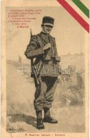 R. Esercito Italiano - Fanteria / WWI Italian military infantry art postcard, Italian flag decoration, artist signed (EB)