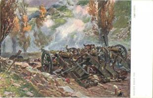 Battle of Somosierra. Polish military art postcard, artillery. Edition Stella Bochnia No. 1172. s: Wojciech Kossak