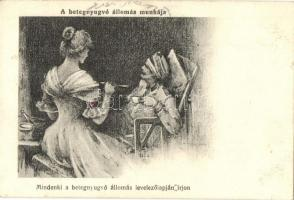 A betegnyugvó állomás munkája, Mindenki a betegnyugvó állomás levelezőlapján írjon. Vöröskereszt Egylet pecsételéssel, katonai kórház, I. világháború / WWI K.u.K. Hungarian military hospital, Red Cross nurse