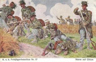 Sturm auf Chlum. K.u.K. Feldjägerbataillon Nr. 17. Kdtobj. Wenzel Bohac / WWI Austro-Hungarian K.u.K. military art postcard, Battle of Chlum s: Righetti (EK)