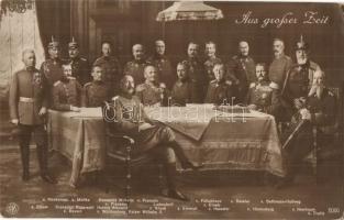 Aus grosser Zeit. Kaiser Wilhelm II, Hindenburg with the military leaders of WWI: Mackensen, Moltke, Bölow, Kronprinz Rupprecht v. Bayern, herzog Albrecht v. Württemberg, Ludendorff, Kluck, Emmich, Falkenhayn, Einem, Haeseler, Beseler, Bethmann-Hollweg, Heeringen, Tirpitz (EK)