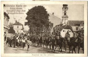 Abschied der 5er Uhlanen. Rotes Kreuz, Kriegshilfsbüro / WWI Austro-Hungarian K.u.K. military, farewell to the Ulan regiment, light cavalry
