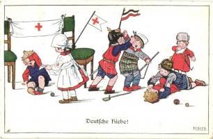 Deutsche Hiebe! / WWI German military humour, mocking, children. M. Munk Nr. 944. s: Pauli Ebner (EK)
