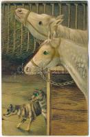 Horses with dogs. Decorated eyes. Emb. litho (Rb)
