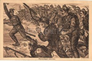 Kaiserjäger stürmen. K.u.K. Tiroler-Kaiser-Jäger Regiment 1816-1916 / WWI Austro-Hungarian K.u.K. military art postcard s: Bartle Kleber