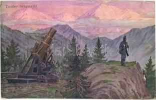 1915 Tiroler Bergwacht / WWI Austro-Hungarian K.u.K. military art postcard, mountain guard with cannon. B.K.W.I. 259-147. (EB)