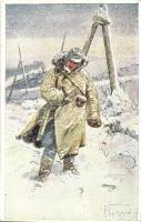1916 Hilfsaktion Kälteschutz Kriegshilfsbüro Nr. 392. / WWI Austro-Hungarian K.u.K. military art postcard, artist signed (EK)