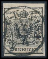 1850 2kr MP III b mélyfekete, finom nyomat, Papierkorn ,,N(AGY)-KANISA Certificate: Steiner