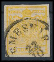 1850 1kr HP III kadmiumsárga ,,TEMESVÁR Certificate: Ferchenbauer