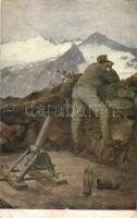 Minenwerferstand im Adamello-Abschnitt. Rotes Kreuz, Kriegshilfsbüro / WWI Austro-Hungarian K.u.K. military art postcard, soldier with mine thrower mortar in the mountains s: Karl M. Schuster (EB)