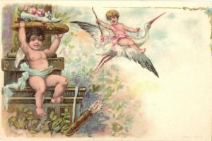 Angels with stork. A. Sockl Wien floral, litho