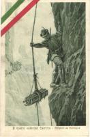 Il nostro valoroso Esercito - Artiglieri da montagna / WWI Italian military art postcard, mountain artillery, Italian flag decoration (EK)