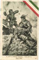Il nostro valoroso Esercito - Sanita Militare, Umili Eroi / WWI Italian military art postcard, military medics, sanitary, Italian flag decoration s: V. Polli (fl)